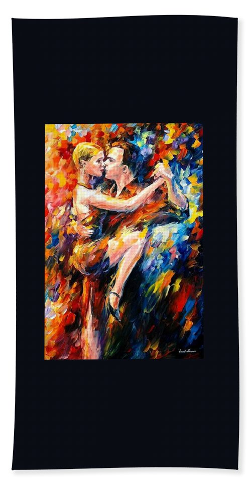 Dance Beach Sheet featuring the painting Tango Of Love  by Leonid Afremov