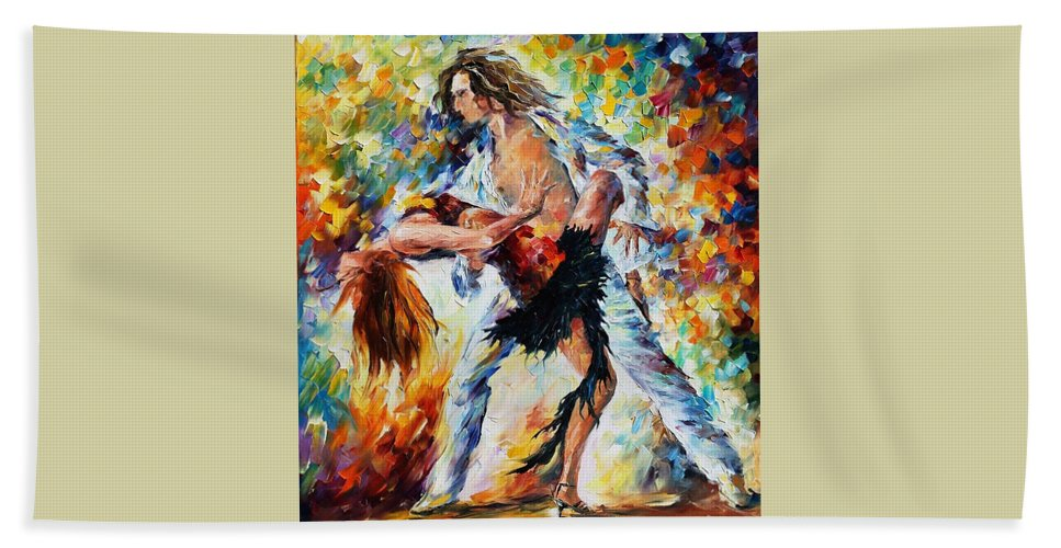 Afremov Beach Towel featuring the painting Tango's Love by Leonid Afremov