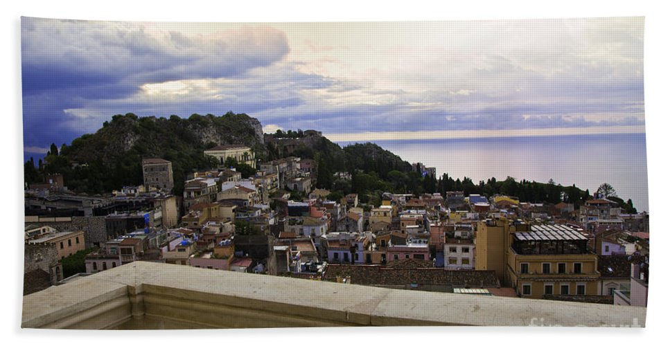 Taormina Beach Towel featuring the photograph Taormina Balcony View 2 by Madeline Ellis