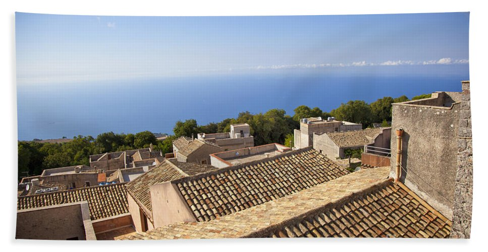 Rooftops Beach Towel featuring the photograph Taormina Rooftops by Madeline Ellis