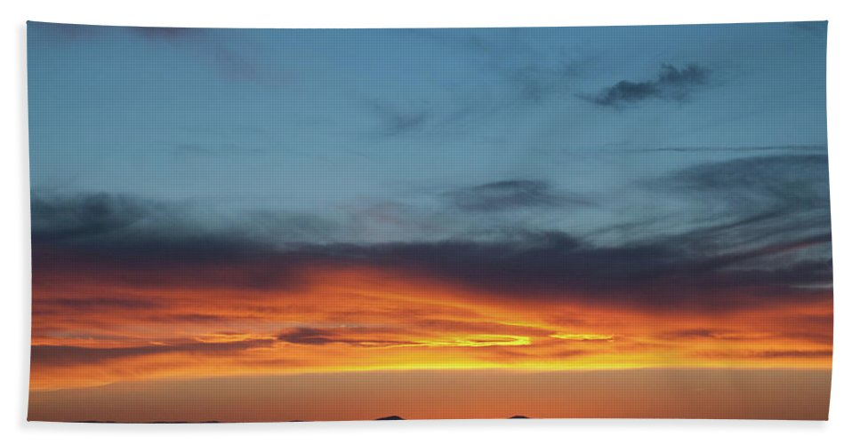 Sunset Beach Towel featuring the photograph Taos Mesa Sunset by Jason Coward
