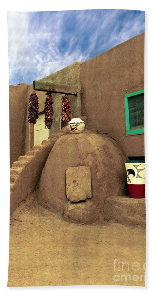 Pueblo Beach Towel featuring the photograph Taos Oven by Jerry McElroy
