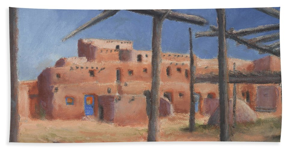 Taos Beach Towel featuring the painting Taos Pueblo by Jerry McElroy