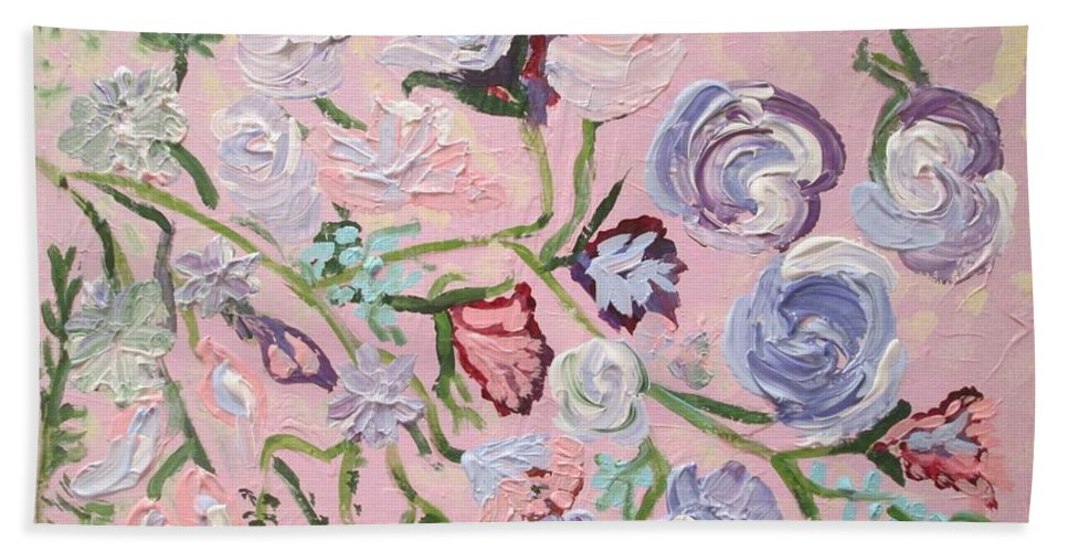 Flowers Beach Towel featuring the painting Tapestry 2 by Jennylynd James