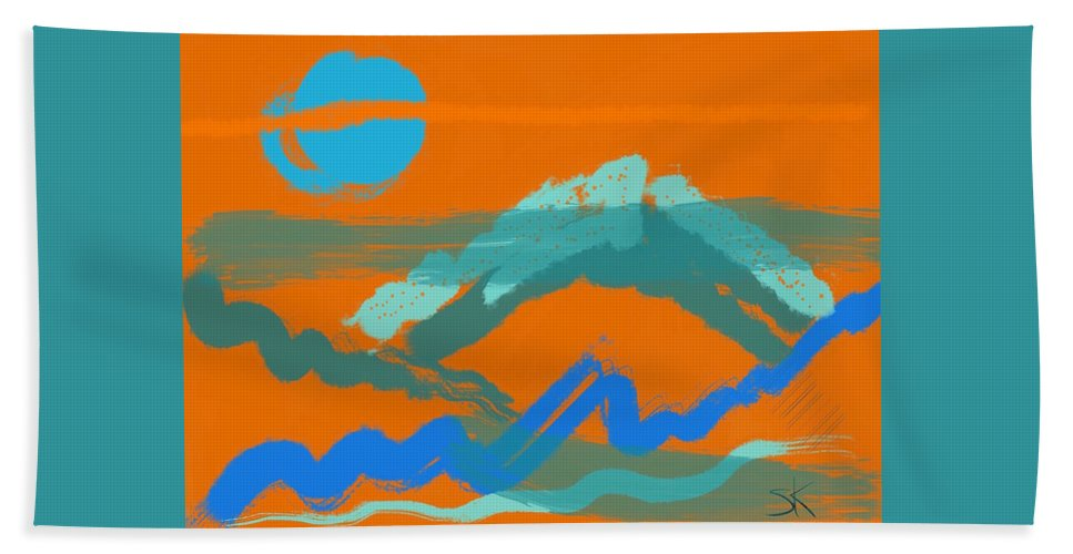 Abstract Beach Towel featuring the digital art Taps by Sherry Killam