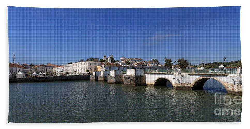 Tavira Beach Towel featuring the photograph Tavira Ponte Romana And The River by Louise Heusinkveld