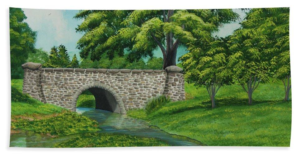 Colgate University Taylor Lake Beach Towel featuring the painting Taylor Lake Stone Bridge by Charlotte Blanchard