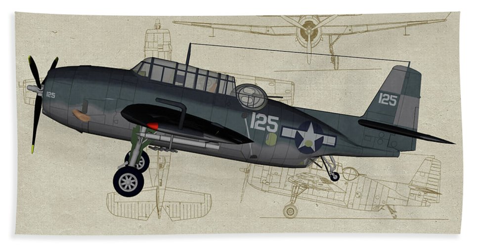 Grumman Tbm Avenger Beach Towel featuring the digital art Tbm-3 Avenger Profile Art by Tommy Anderson