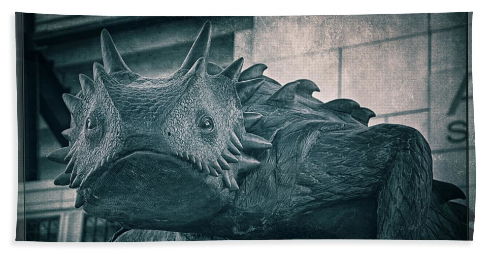 Joan Carroll Beach Towel featuring the photograph Tcu Horned Frog Cobalt by Joan Carroll