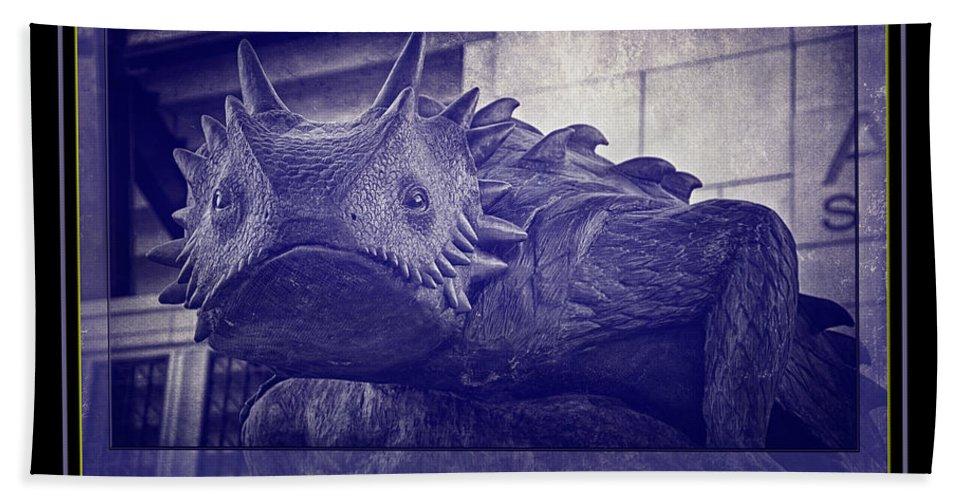Joan Carroll Beach Towel featuring the photograph Tcu Horned Frog Poster Purple by Joan Carroll