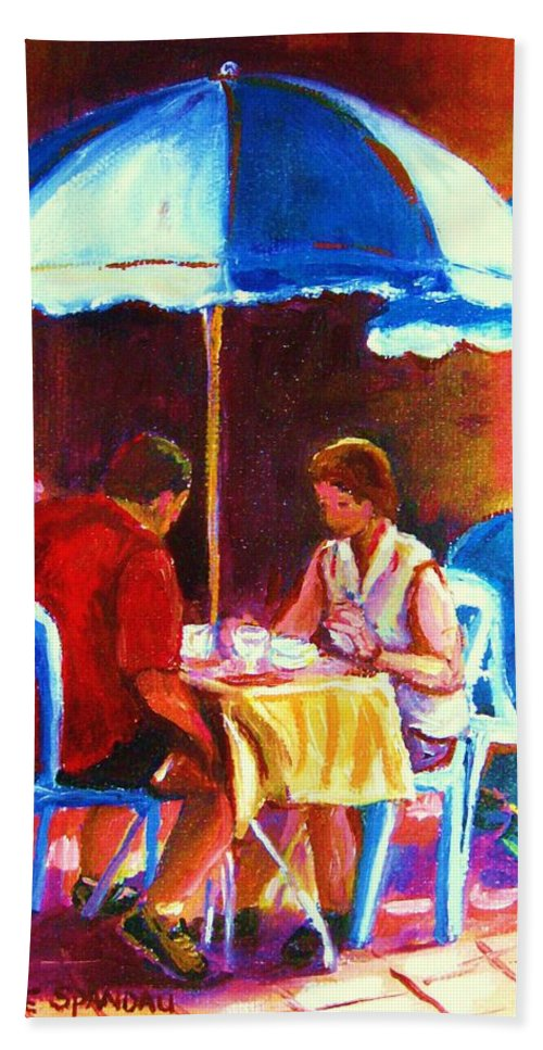 St. Denis Outdoor Cafe Montreal Street Scenes Beach Sheet featuring the painting Tea For Two by Carole Spandau