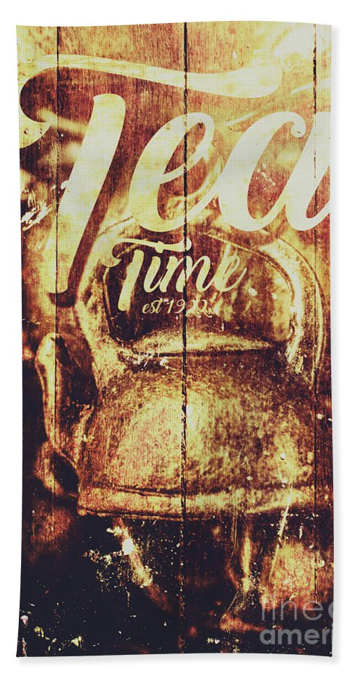 Sign Beach Towel featuring the photograph Tea Time Tin Sign by Jorgo Photography - Wall Art Gallery
