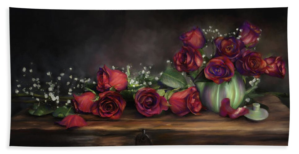 Digital Painting Beach Towel featuring the digital art Teapot Roses by Susan Kinney