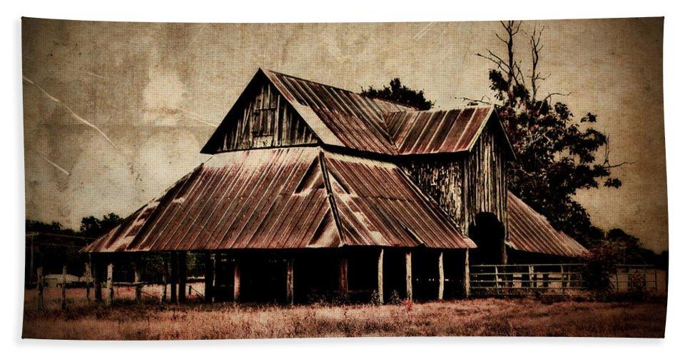 Barn Beach Towel featuring the photograph Teaselville Texas Barns by Julie Hamilton