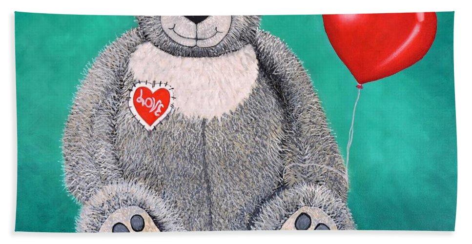 Paint My Teddy Bear Beach Towel featuring the painting Teddy Bear Eli by Caroline Street