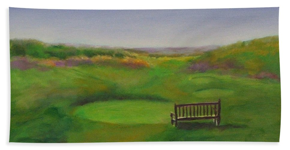 Golf Beach Towel featuring the painting Tee Hole 13 The Chute by Shannon Grissom