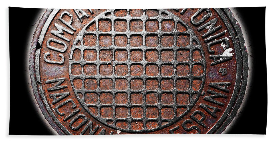 Manhole Cover Beach Towel featuring the photograph Telefonica by Charles Stuart