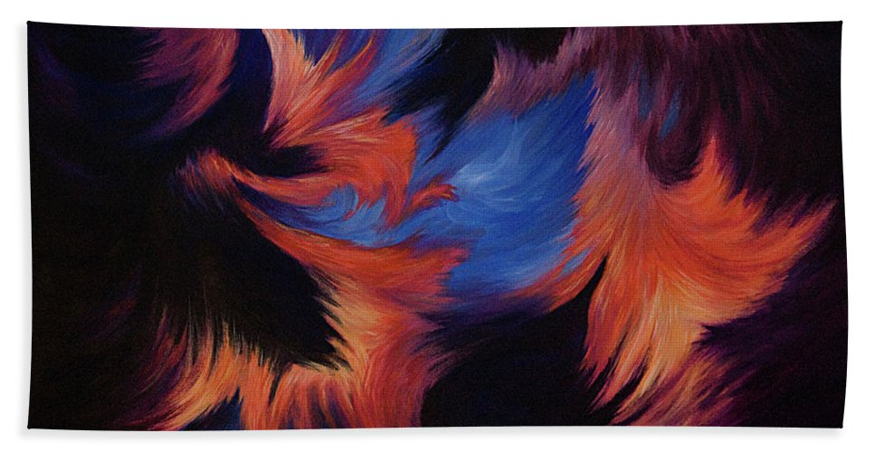 Abstract Beach Towel featuring the painting Tempest by Rachel Christine Nowicki