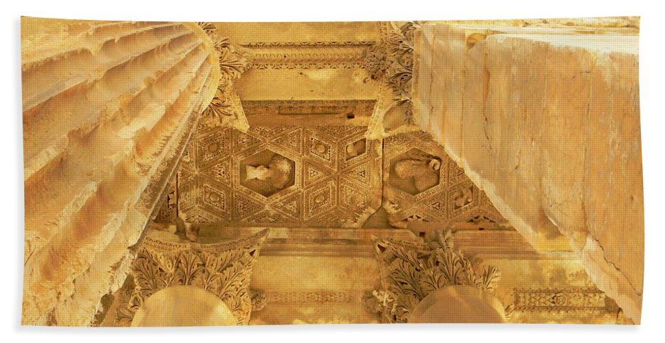 Marwan Khoury Beach Towel featuring the photograph Temple Of Bacchus by Marwan George Khoury