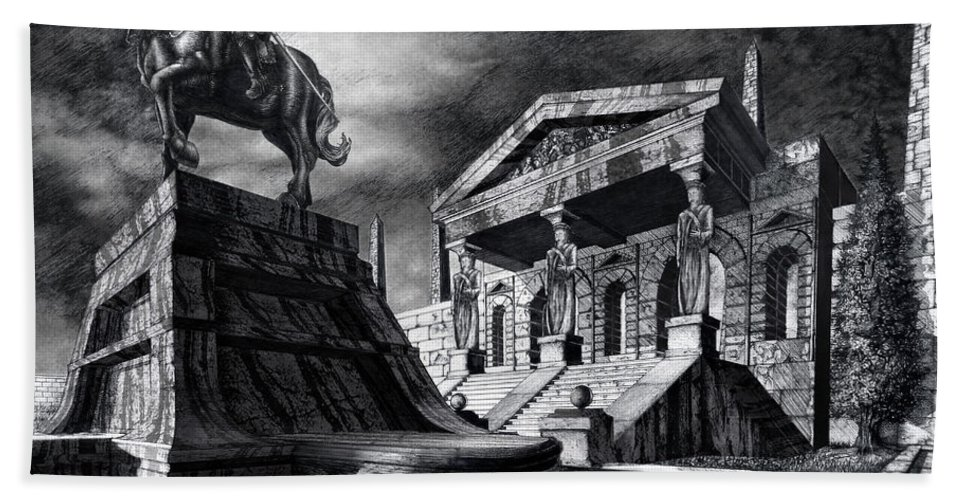 Greek Architecture Beach Towel featuring the drawing Temple Of Perseus by Curtiss Shaffer