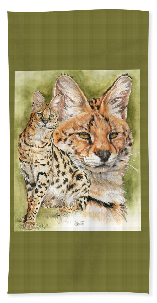 Serval Beach Towel featuring the mixed media Tempo by Barbara Keith