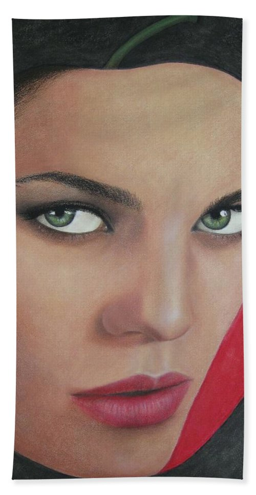 Woman Beach Towel featuring the painting Temptation by Lynet McDonald