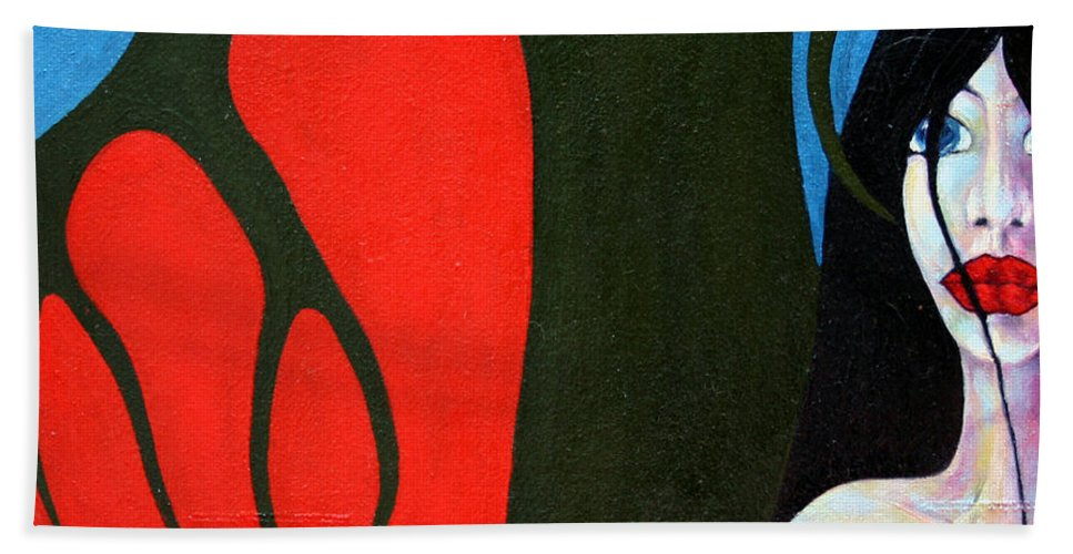 Imagination Beach Towel featuring the painting Temptation by Wojtek Kowalski