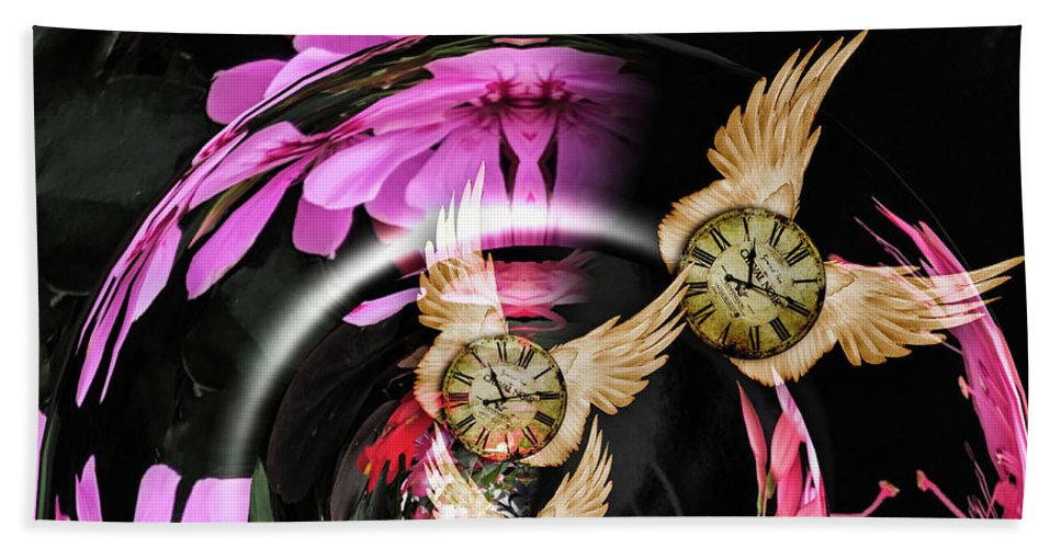Abstract Beach Towel featuring the digital art Tempus Fugit by M M Rainey
