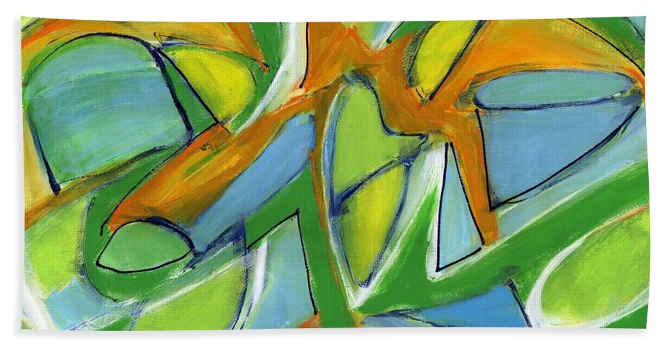 Abstract Beach Towel featuring the painting Tender Heart by Lynne Taetzsch