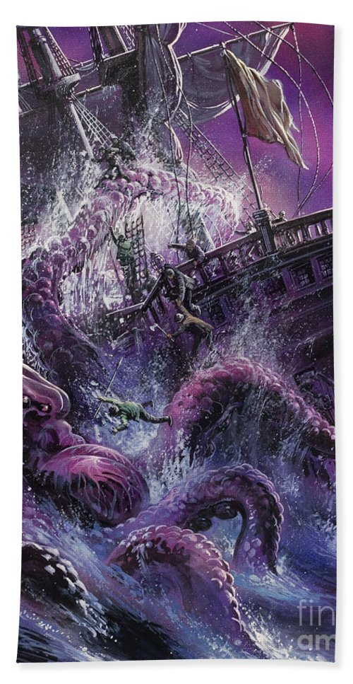 Fear; Ship; Sea Monster; Wave; Ocean; Water; Purple; Disaster; Mystery; Legend; Sea Monster; Beast; Tentacles; Mast; Sail; Pieuvre; Geante; Danger; Perilous; Purple Beach Towel featuring the painting Terror From The Deep by Oliver Frey
