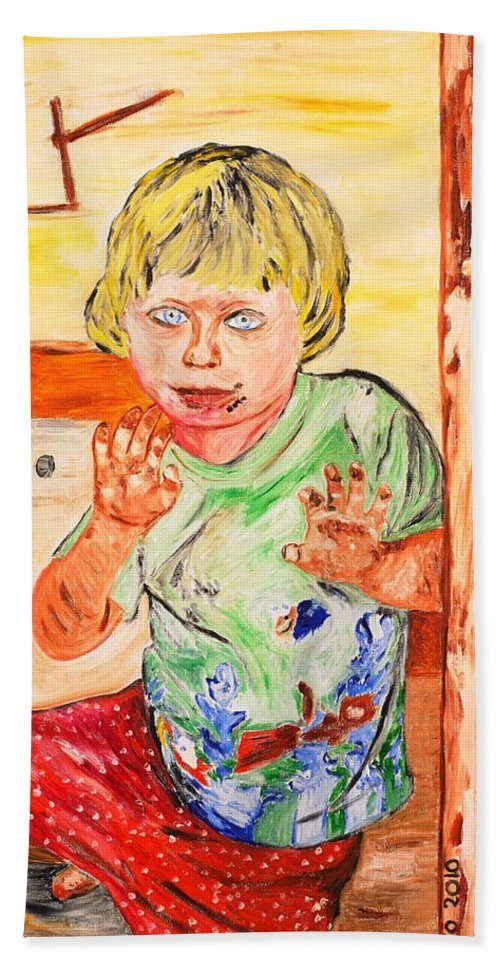 Kid Beach Towel featuring the painting Terry by Valerie Ornstein