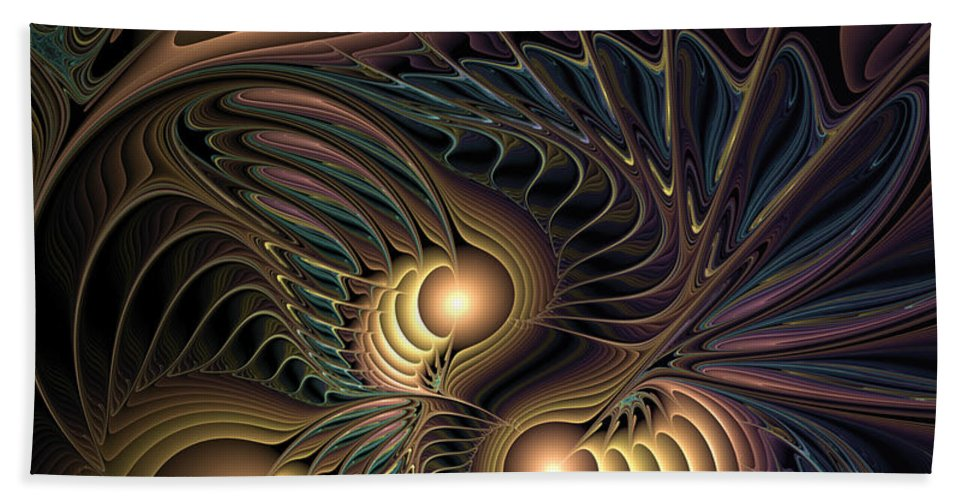Abstract Beach Towel featuring the digital art Tertiary Harmonics by Casey Kotas