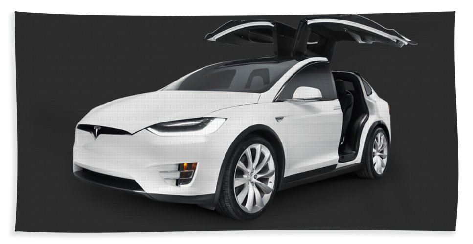 Tesla Beach Towel featuring the photograph Tesla Model X Luxury Suv Electric Car With Open Falcon-wing Doors Art Photo Print by Maxim Images Prints