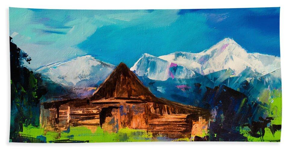 Barn Beach Towel featuring the painting Teton Barn by Elise Palmigiani
