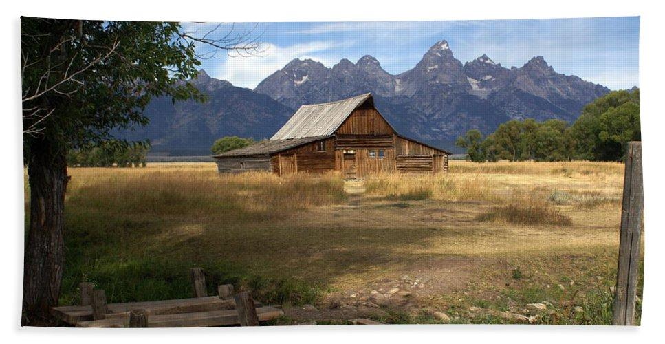 Grand Teton National Park Beach Towel featuring the photograph Teton Barn by Marty Koch