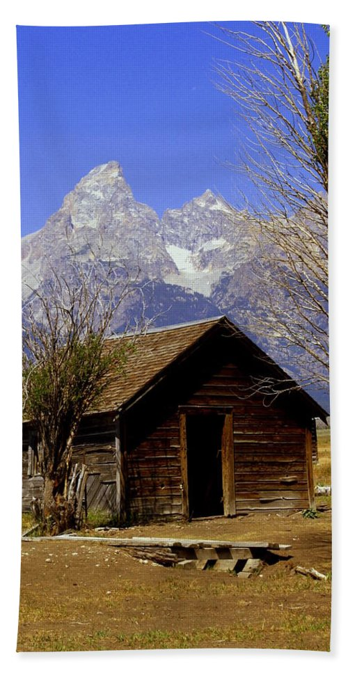 Grand Teton National Park Beach Towel featuring the photograph Teton Cabin by Marty Koch