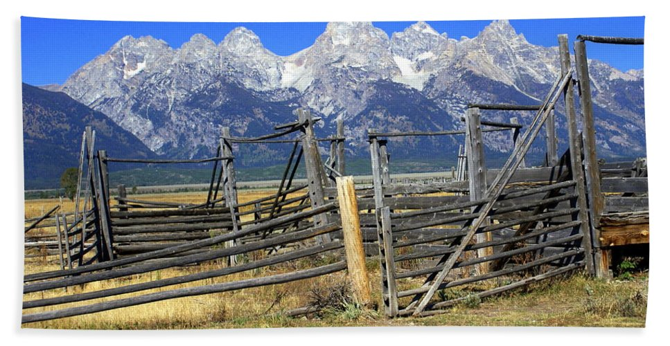 Grand Teton National Park Beach Towel featuring the photograph Teton Corral 2 by Marty Koch