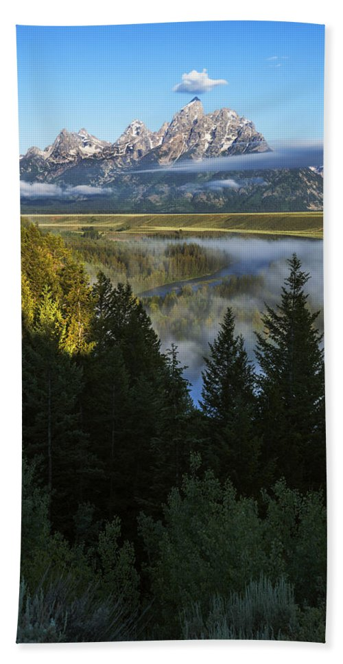 Snake River Overlook Beach Towel featuring the photograph Teton Morning Snake River Overlook by Vishwanath Bhat