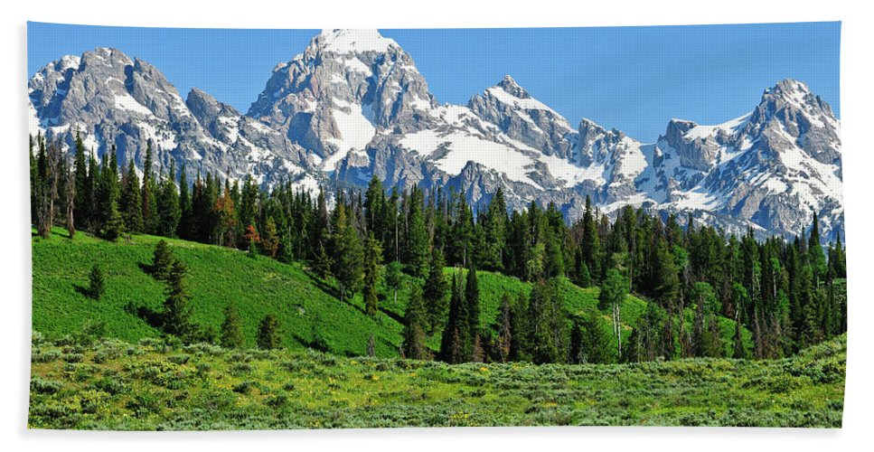 Grand Teton National Park Beach Towel featuring the photograph Tetons In Spring by Greg Norrell