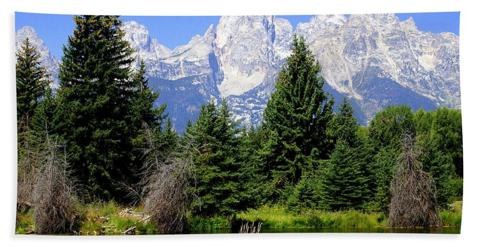 Grand Teton National Park Beach Towel featuring the photograph Tetons by Marty Koch