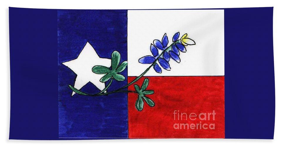 Texas Beach Towel featuring the drawing Texas Bluebonnet by Vonda Lawson-Rosa