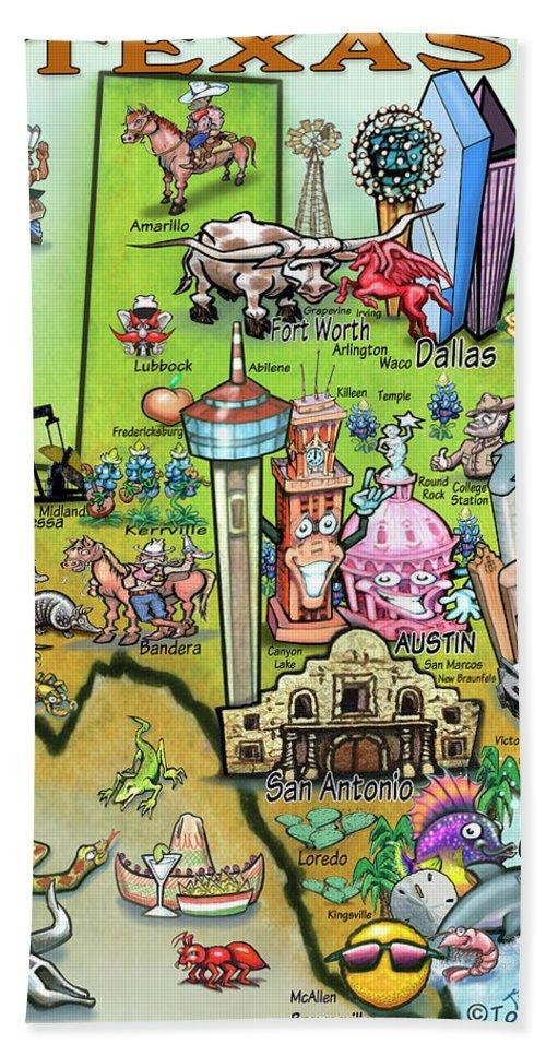 Texas Beach Towel featuring the digital art Texas Fun Map by Kevin Middleton