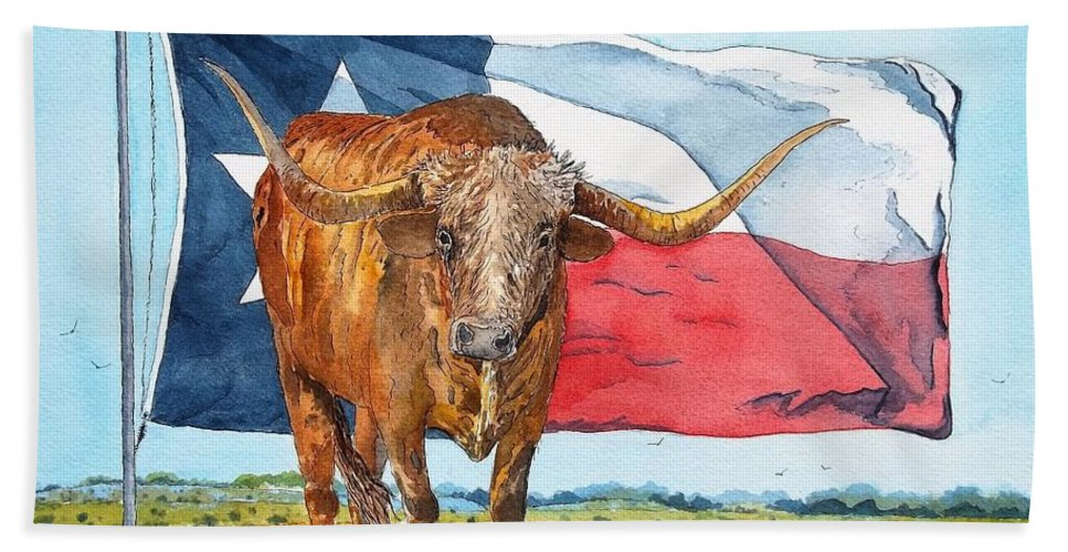 Watercolor Beach Towel featuring the painting Texas by Don Hand