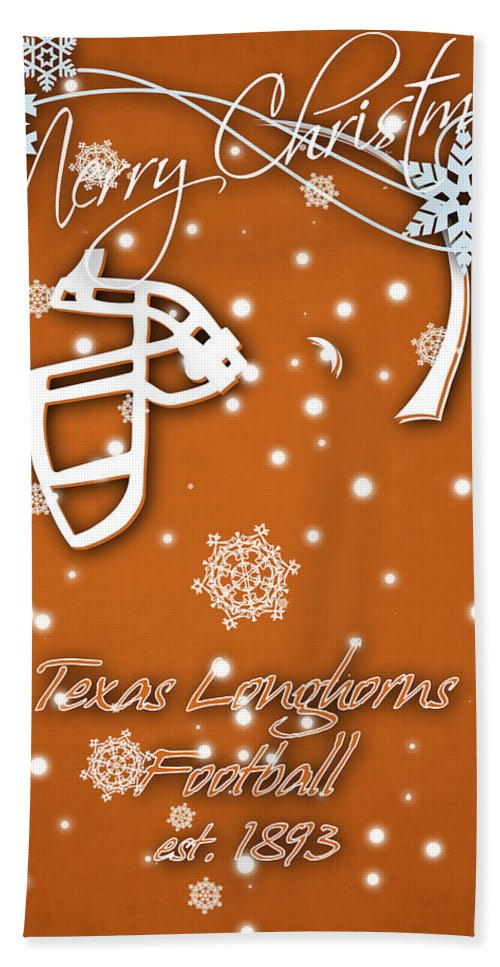 Texas Longhorns Beach Towel featuring the photograph Texas Longhorns Christmas Card by Joe Hamilton