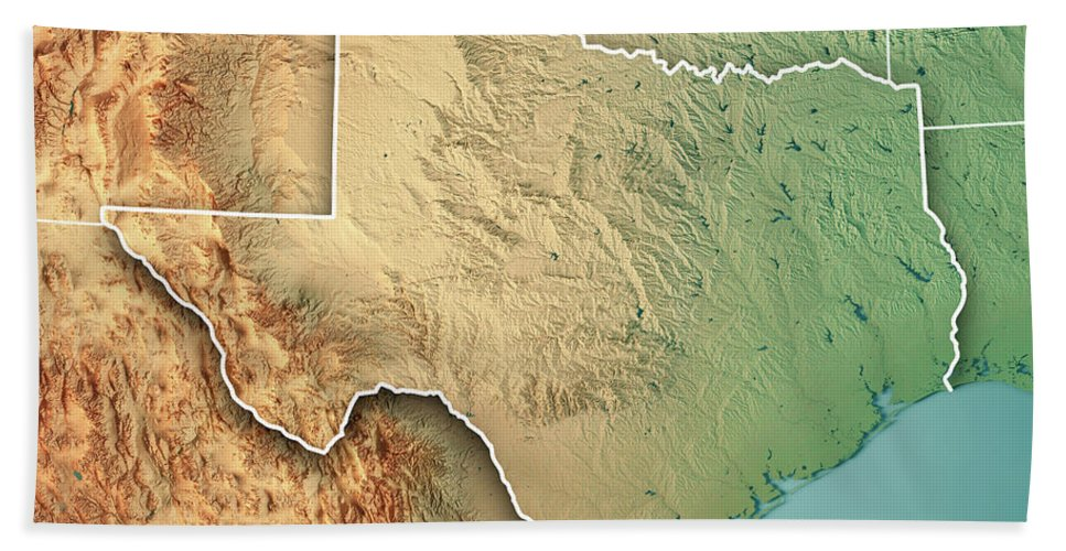 Texas State Usa 3d Render Topographic Map Border Beach Towel For
