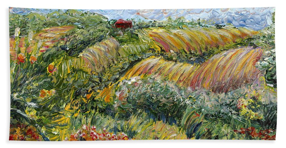 Texture Beach Towel featuring the painting Textured Tuscan Hills by Nadine Rippelmeyer