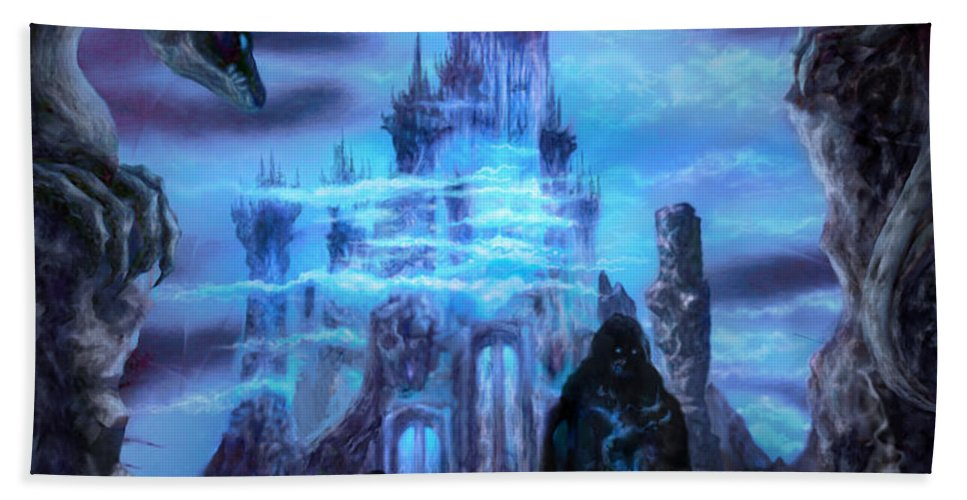 Tolkien Beach Towel featuring the mixed media Thangorodrim by Curtiss Shaffer
