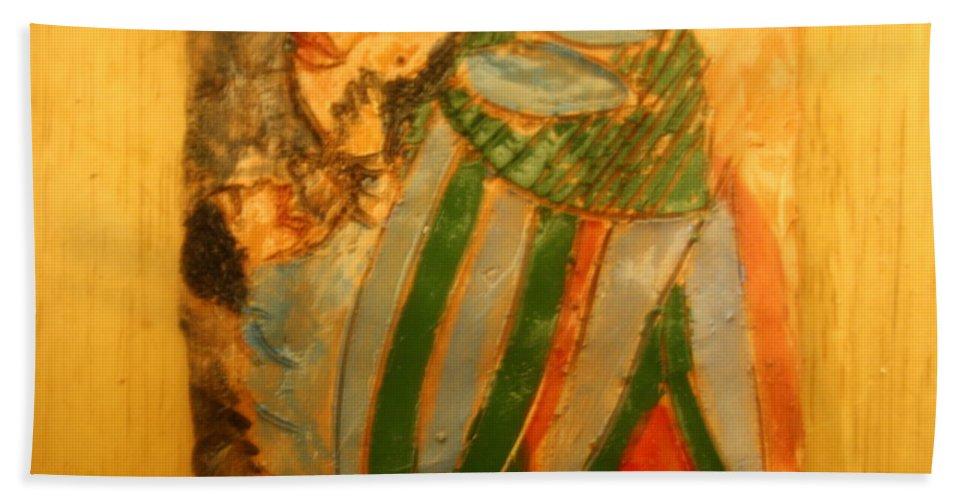 Jesus Beach Towel featuring the ceramic art Thanks Mum - Tile by Gloria Ssali