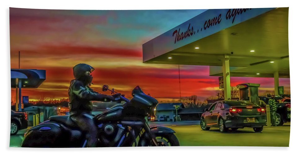 Motorcycle Beach Towel featuring the photograph Thanks...come Again by Chad Fuller