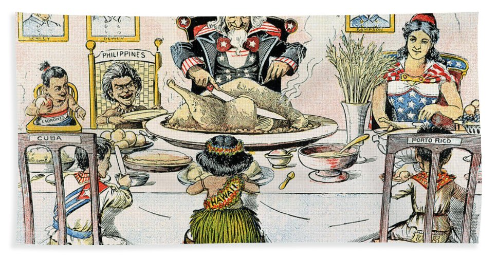 1898 Beach Towel featuring the photograph Thanksgiving Cartoon, 1898 by Granger